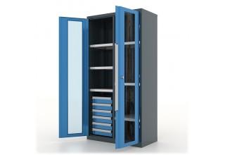 """Шкаф инструментальный с ящиками и полками 6*6 шт, двери со стеклом, с перегородкой, """"Premium"""" 1000х500х1950h - 13.2662"""