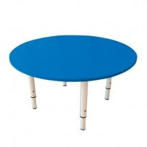 Стол детский круглый 800х800х400-580 мм, регулируемый, рост 0-3 (85-145 см), пластик синий, слоновая кость