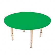 Стол детский круглый, 800х800х400-580 мм, регулируемый, рост 0-3 (85-145 см), пластик зеленый, слоновая кость