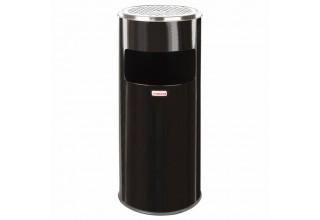 Урна с пепельницей 27 литров, 600х250 мм, нержавеющая сталь, черная, LAIMA PROFESSIONAL, 606300